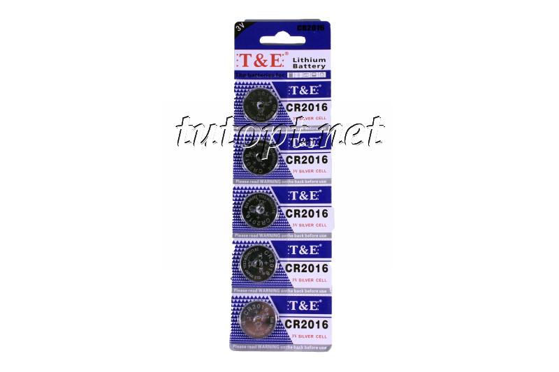 """Батарейки-Таблетки """"T&E"""", CR2016 3V, блистер - 5шт. упаковка - 60шт."""