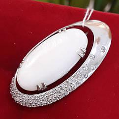 Серебряная брошь с перламутром - Брошь с перламутром серебро 925