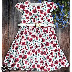 Платье с цветами для девочки Размеры: 92,98,104,110 см (6004)