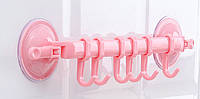 Держатель с крючками на вакуумном креплении FHEAL Розовый (hld-207pink)