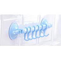 Держатель с крючками на вакуумном креплении FHEAL  Голубой (hld-207 blue)