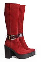 Женские кожаные сапоги красного цвета Villomi 714-03b