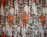 """Тюль шифон """"Красные зонты"""" серый с красным урбанистический стиль фотошторы"""