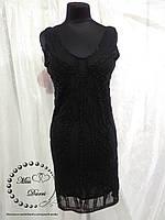Нарядное платье черное расшитое бисером