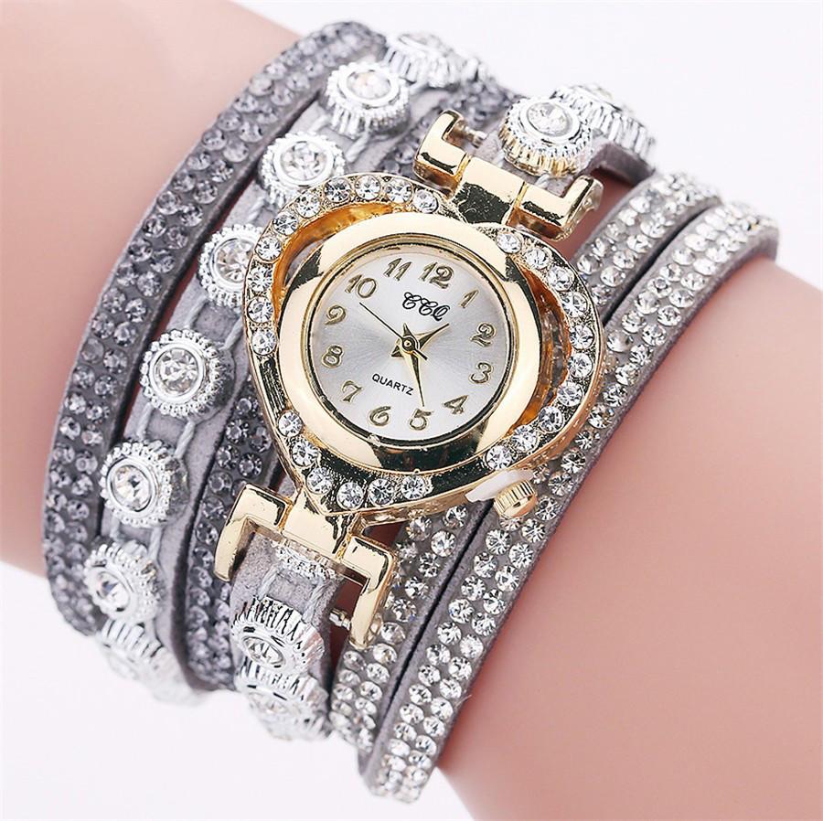 Женские часы браслет со стразами и серым браслетом, Жіночий наручний годинник браслет, Наручные часы