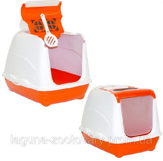 Moderna МОДЕРНУ ФЛІП КЕТ ДЖУМБО закритий туалет для котів, з відкидною кришкою, 58х45х42 см, оранжевий