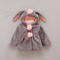 Детская демисезонная шубка с ушками кролика. Размеры 80-98.