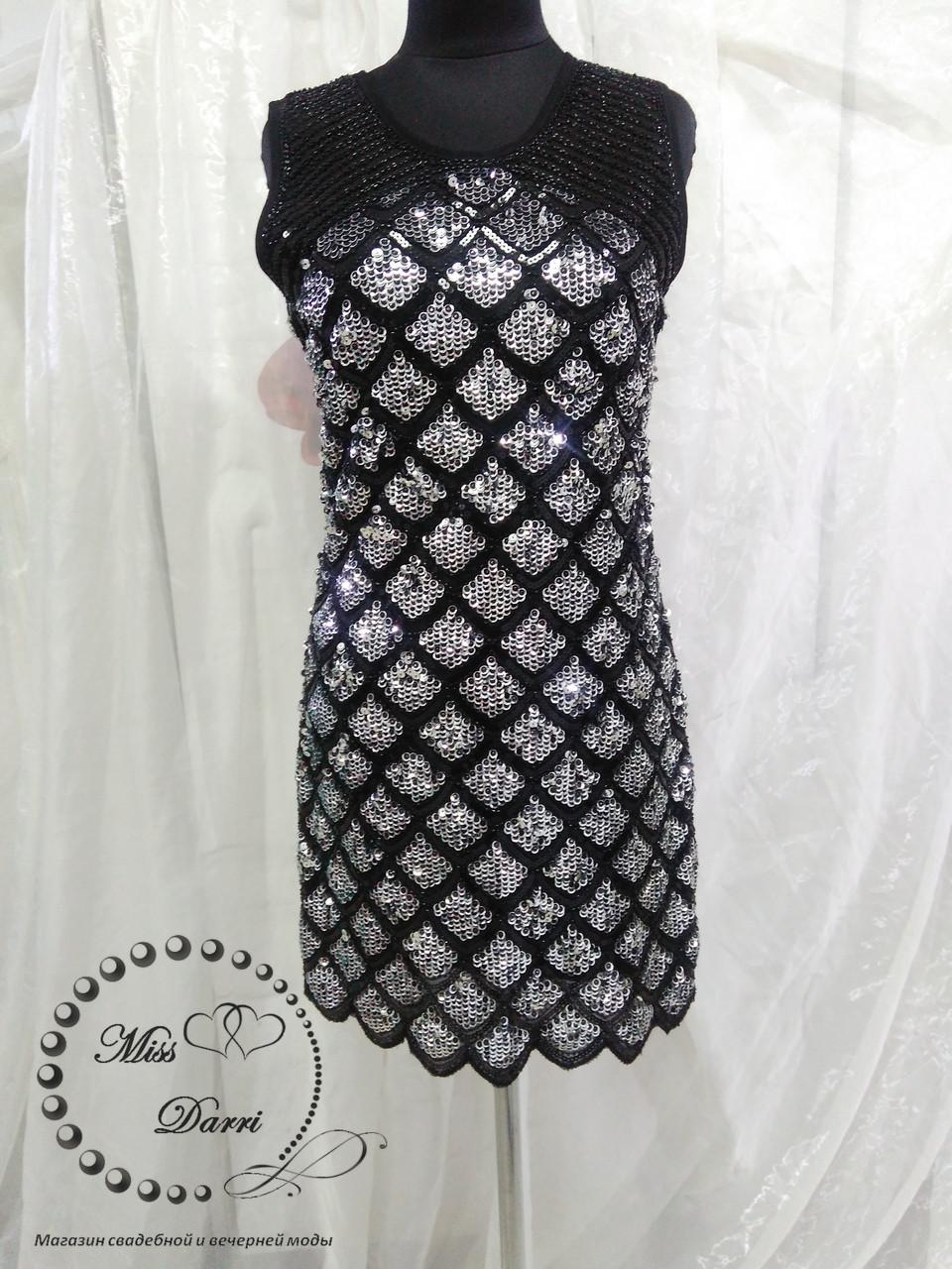 Нарядна сукня з паєтками чорна зі сріблом