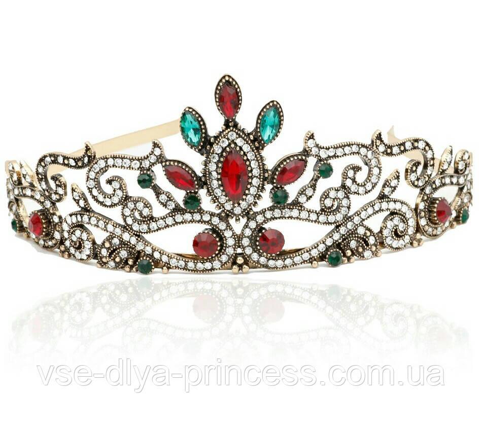 Корона під бронзу з червоними і зеленими каменями, діадема, тіара, висота 5,5 див.