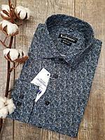 """Приталенная рубашка с принтом """"Турецкий огурец"""" 100% хлопок"""
