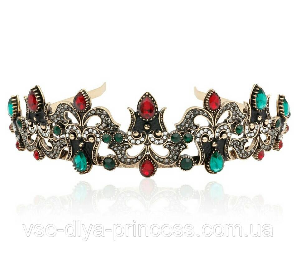 Корона під бронзу з червоними і зеленими каменями, діадема в східному стилі, тіара, висота 4 див.
