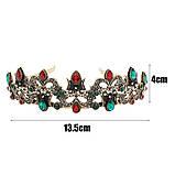 Корона під бронзу з червоними і зеленими каменями, діадема в східному стилі, тіара, висота 4 див., фото 2
