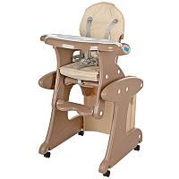 Стульчик M 3267-13 для кормления, трансформер (со столиком), колеса 4 шт, регулируется спинка, ремни безопасно
