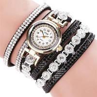 Женские часы браслет со стразами и черным браслетом, фото 1