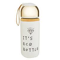 Бутылочка стеклянная в чехле белого цвета, фото 1
