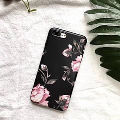ЧехолнакладканаiPhoneХчерный с розами, плотный силикон