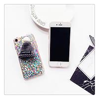 Чехол накладка на iPhone 6 plus/6splus серые блестки с шапочкой, плотный силикон