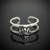 Серебряное женское безразмерное кольцо Корона
