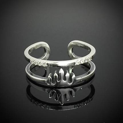 Серебряное женское безразмерное кольцо Корона, фото 2