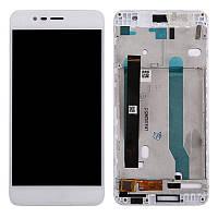 Дисплей (экран) для Asus ZenFone 3 Max (ZC520TL) 5,2 + с сенсором (тачскрином) и рамкой белый Оригинал