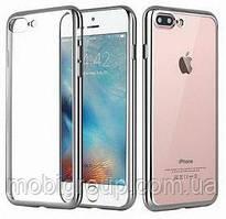 Чехол силиконовый с бампером под металлик iPhone 7/8, Silver