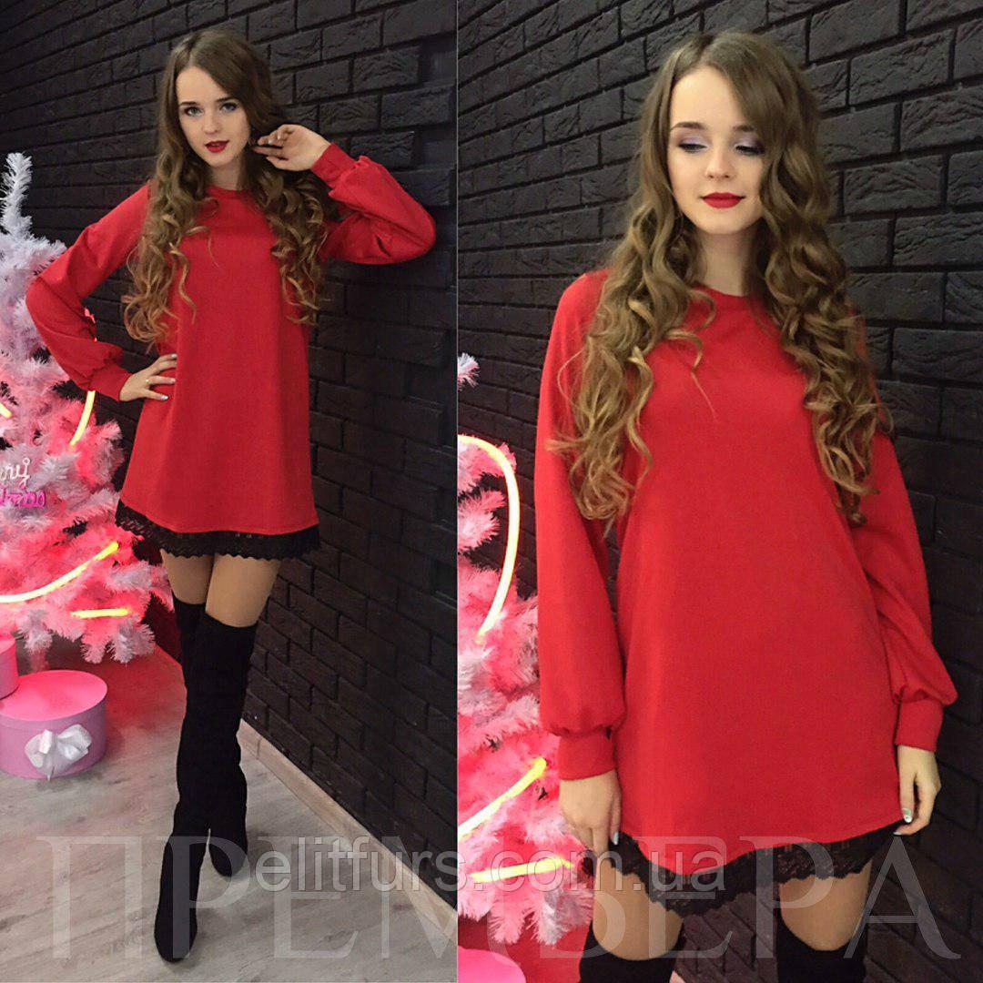 Платье трикотажное с кружевом + (5 цвета) - Интернет-магазин