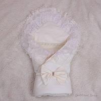 """Летний конверт для новорожденных на выписку """"Волшебство""""(молоко), фото 1"""