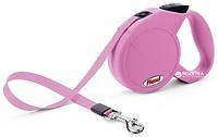 Поводок-рулетка Flexi Classic Compact M лента (розовый)