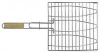 Решетка - гриль для рыбы 28х28 см , с ручкой дерево , 55 см  73-502
