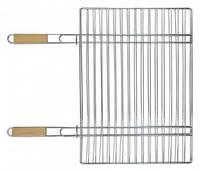 Решетка - гриль для мяса 40х57 см , с двумя ручками дерево , 67 см  73-506