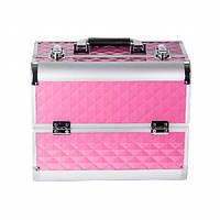 Алюминиевый кейс для косметики на 4 полки. А72. Светло-розовый ромб, матовый - A72-PINK-R-M