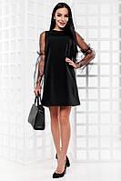 Короткое женское  черное платье с рукавами из сетки