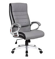 Кресло Солано, мягкое сиденье и спинка, кожзам, цвет светло-серый