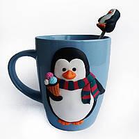 Набор кружка с ложечкой в подарок на новый год Сувенир с фигуркой пингвин