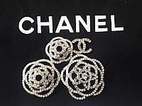 Брошь Chanel белый метал Роза Горный хрусталь