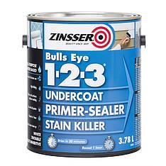 Адгезионный грунт на акриловой основе Zinsser Bulls Eye 1-2-3, белый, 3,78л