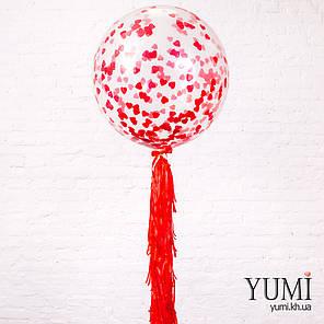 Шар-гигант гелиевый с конфетти и красной гирляндой тассел, фото 2
