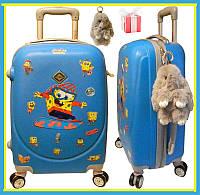 Детский пластиковый чемодан на четырёх колёсах+кролик подарок