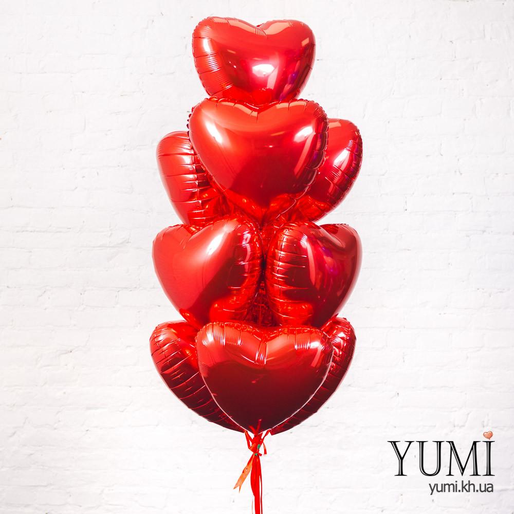 Фольгированные красные шары сердца с гелием