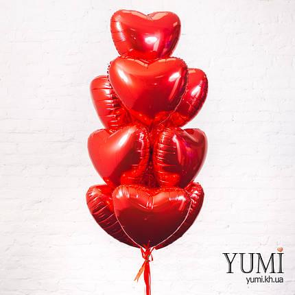 Фольгированные красные шары сердца с гелием, фото 2