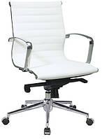 Кресло офисное Алабама MNEW, средняя спинка, хром, цвет белый