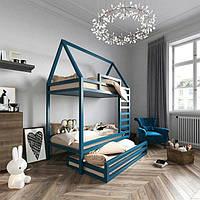 Двухуровневая кровать-домик с дополнительным спальным местом