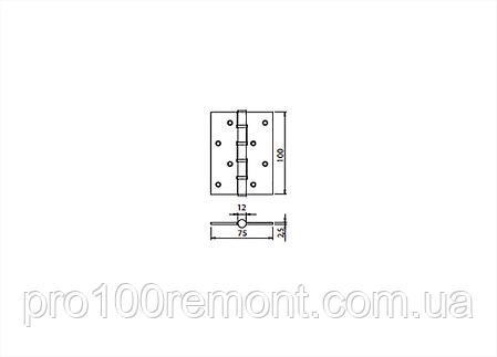 Петля для дверей МВМ универсальная SS-100 нержавеющая сталь, фото 2