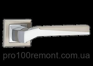 Ручка дверна на розетці МВМ NEO Z-1319 SN/CP матовий нікель/полірований хром, фото 2