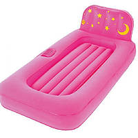 Детская надувная кровать Bestway 67496 с проектором, розовая, размер 132 х 76 х 46 см.