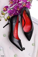Женские туфли лодочки черные на среднем каблуке 8,5 см эко кожа