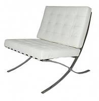 Кресло Барселона, кожзам, основание нержавеющая сталь, цвет белый