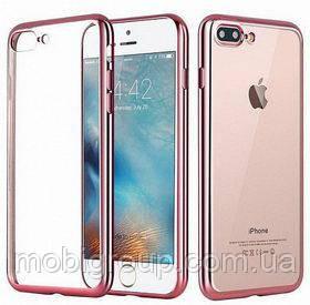 Чехол силиконовый с бампером под металик iPhone 8, Rose