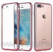 Чехол силиконовый с бампером под металлик iPhone 7/8, Rose