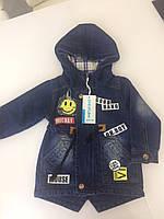 Стильная джинсовая куртка парка для мальчика